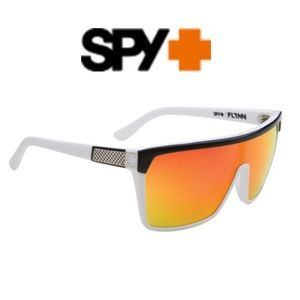 Spy FLYNN Wht/Blk & Red Flash Mirror Sunglasses